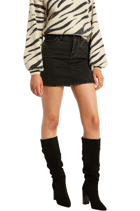 ACID WASH TUSK MINI SKIRT in colour JET SET