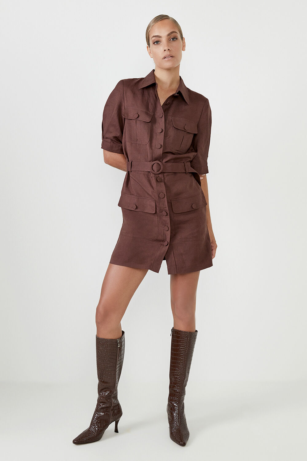 THE SAHARA DRESS  in colour CHOCOLATE BROWN