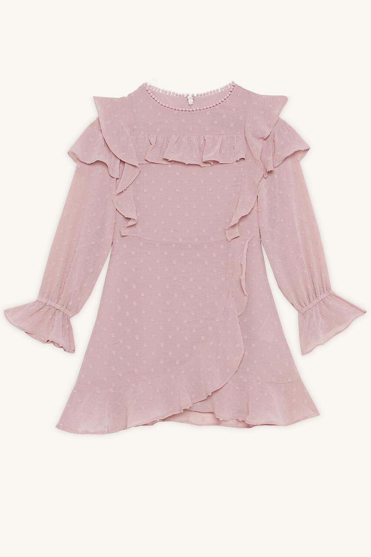 INDI RUFFLE DRESS in colour GRAY LILAC