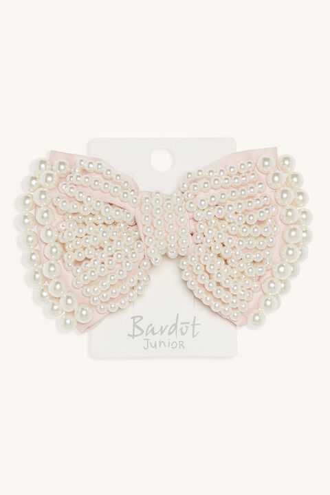 PEARL COVERED LARGE BOW CLIP in colour PINK CARNATION