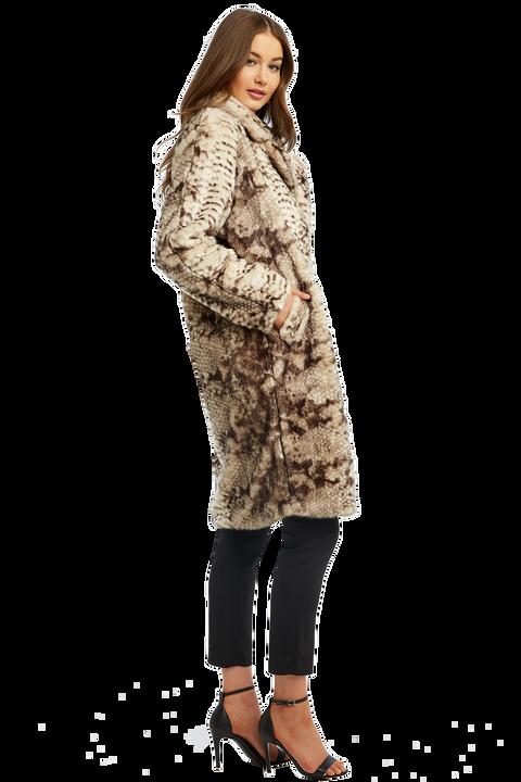 FAUX FUR SNAKE COAT in colour CAVIAR