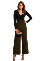 WIDE LEG BUCKLE PANT in colour OLIVE NIGHT
