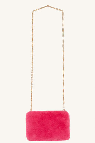 FUR CLUTCH in colour PINK CARNATION