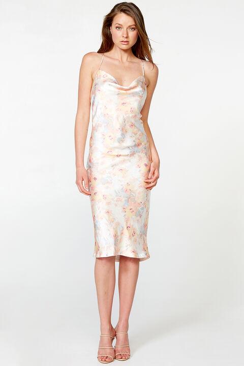 FLORAL SLIP DRESS in colour VANILLA CUSTARD