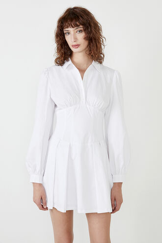 MAYA POPLIN SHIRT DRESS in colour BRIGHT WHITE