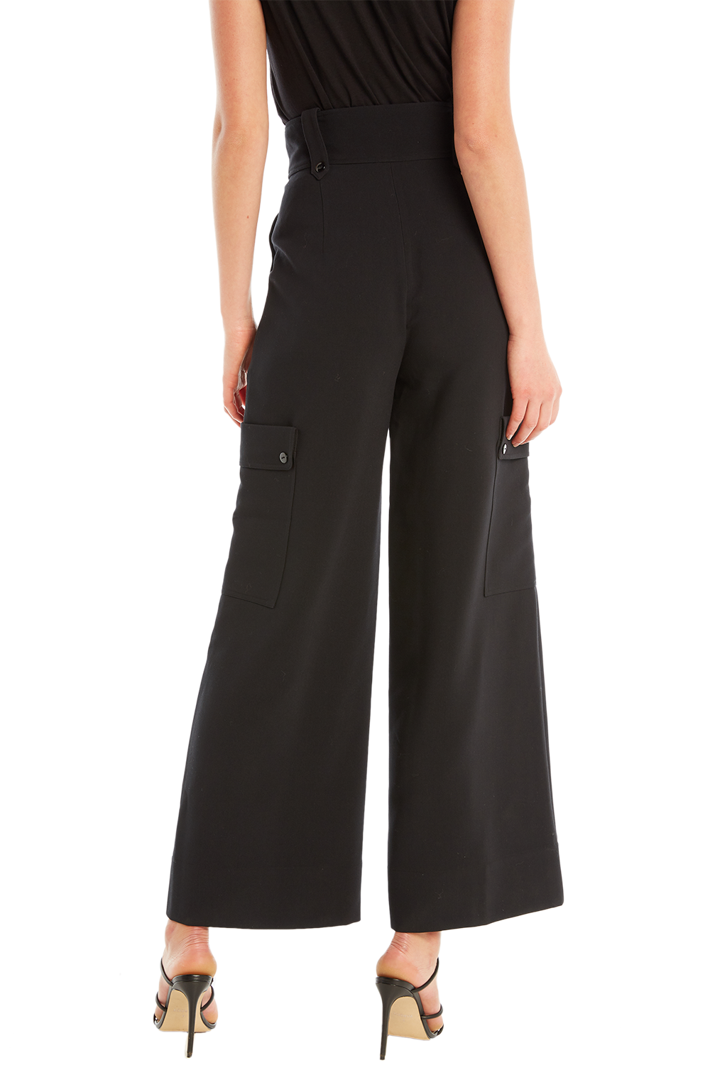 LILY WIDE LEG PANT in colour CAVIAR