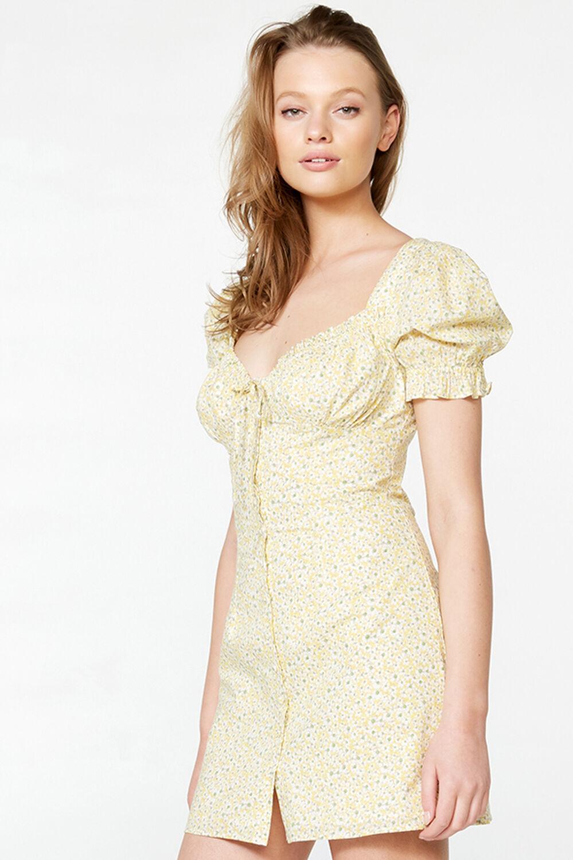 LUCINTA MINI DRESS in colour YELLOW CREAM