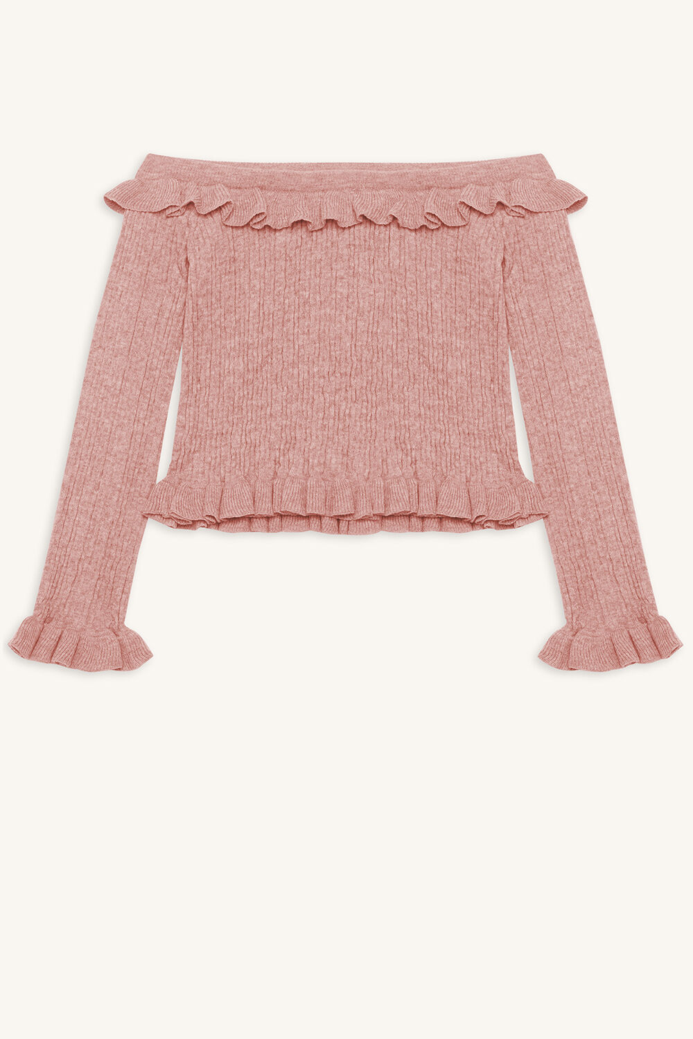 KIM OFF SHOULDER KNIT TOP in colour PEACHSKIN