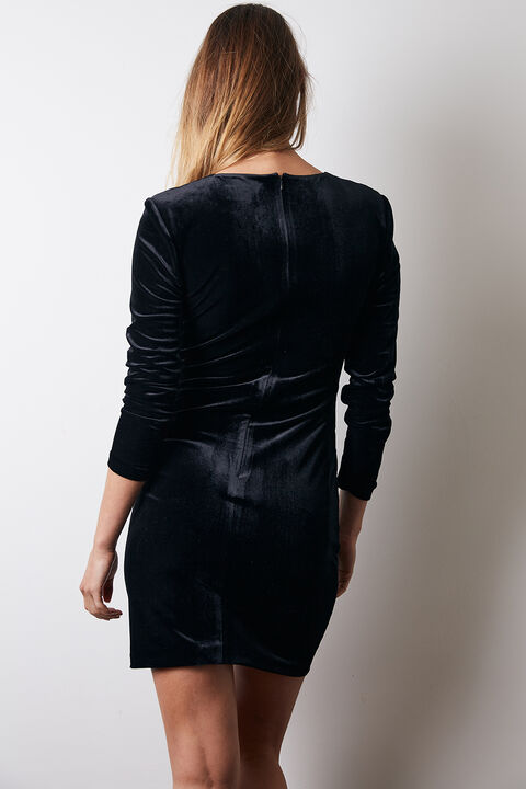 ISLA WRAP DRESS in colour CAVIAR