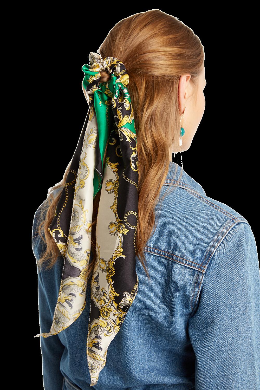 CHAIN PRINT SCRUNCHIE HAIR SCARF in colour GREEN ASH