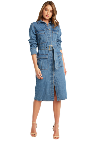 db72240bdbf DENIM SHIRT DRESS in colour TRUE NAVY