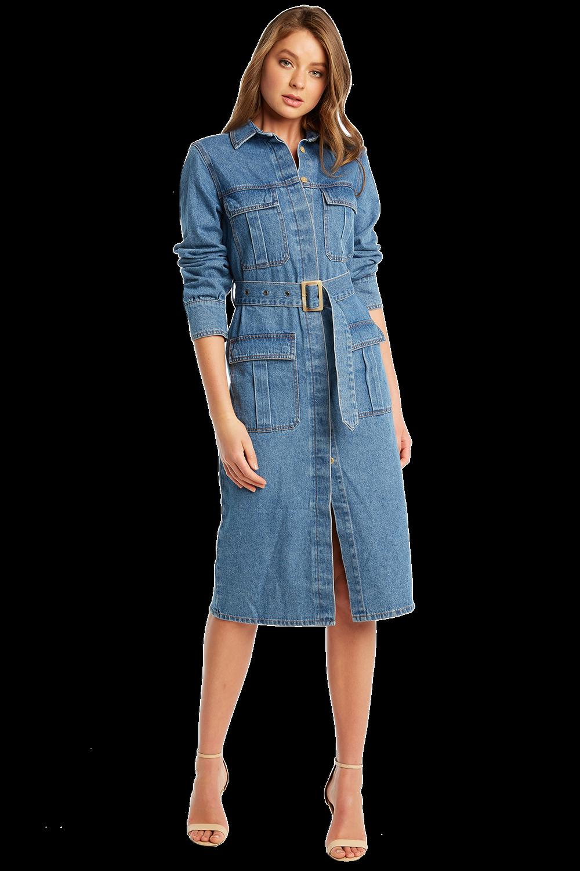 DENIM SHIRT DRESS in colour TRUE NAVY