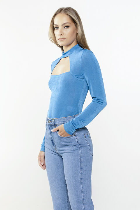 HANNA CUT OUT TOP in colour BRIGHT COBALT