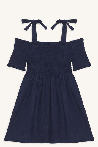 ESTHER SHIRRED DRESS in colour PATRIOT BLUE