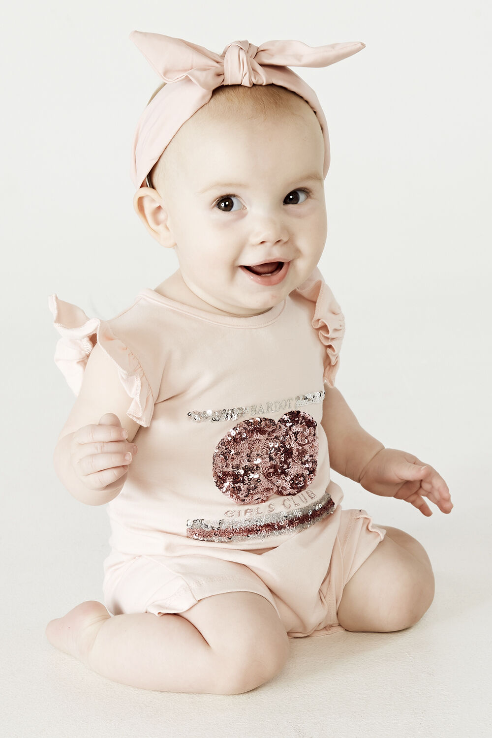 BABY GIRL SPORTS SEQUIN ONESIE in colour PEARL