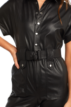 PU BELTED PANTSUIT in colour CAVIAR