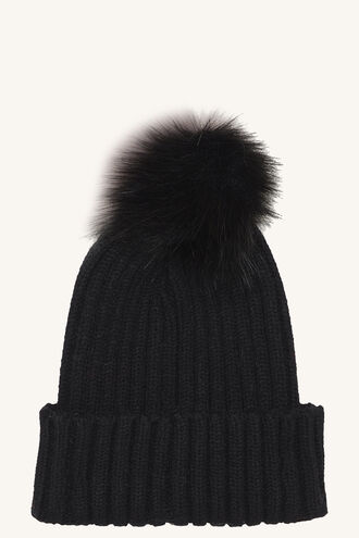 FAUX FUR POM BEANIE in colour METEORITE