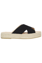 LEATHER CROSS OVER PLATFORM ESPADRILLE in colour METEORITE
