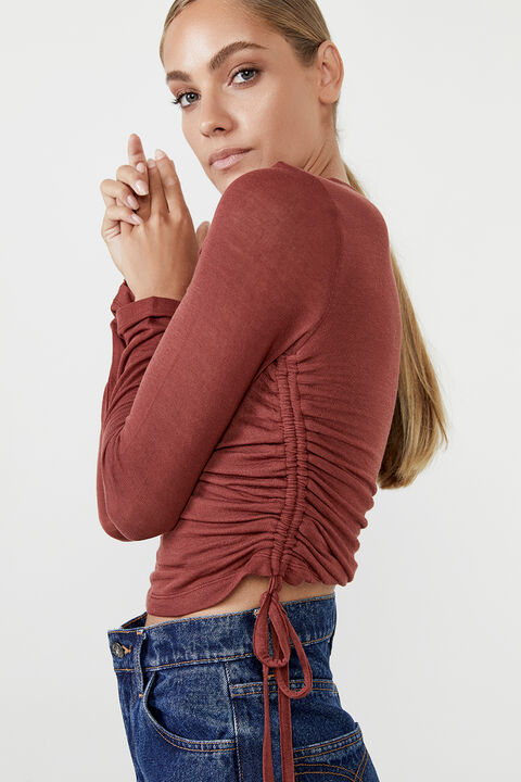 KATE KNIT ROUCHED TOP in colour WINETASTING