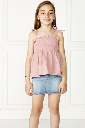 NORA SHIRRED TOP in colour STRAWBERRY ICE