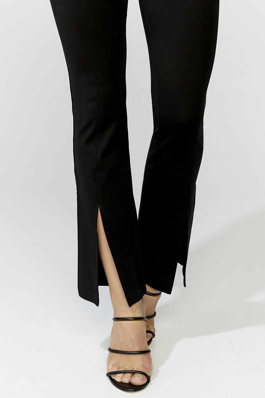 PONTI SPLIT FRONT PANT in colour CAVIAR