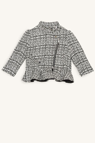 BOUCLE BIKER JACKET in colour CLOUD DANCER