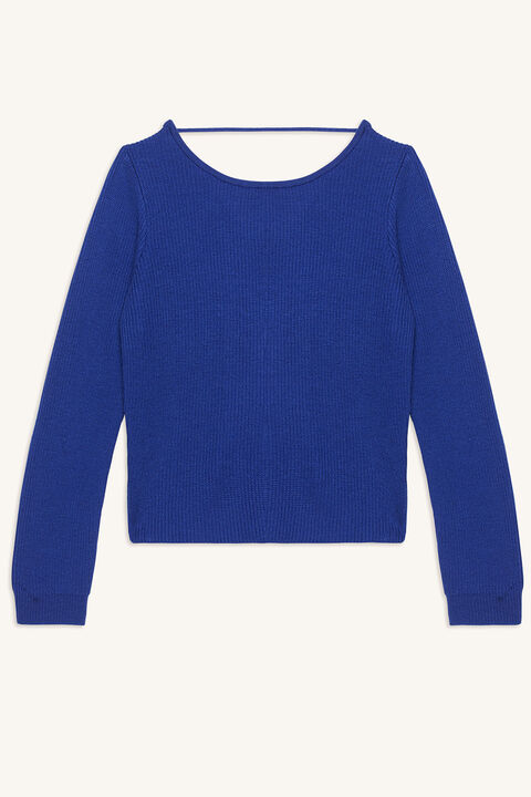 KNOT BACK SWEATER in colour CLASSIC BLUE