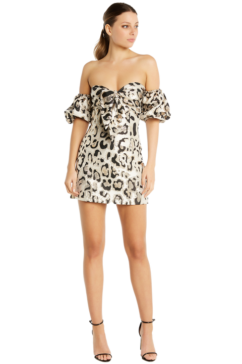 LEOPARD BROCADE DRESS in colour MARSHMALLOW