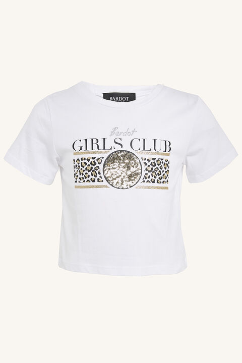 BARDOT CLUB CROP TEE in colour CLOUD DANCER
