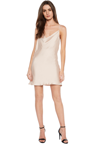 MINI SLIP DRESS in colour CREAM TAN