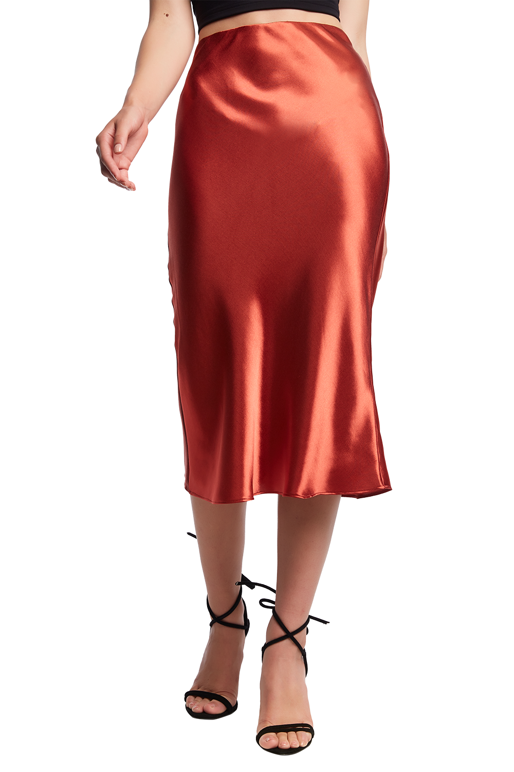 BIAS MIDI SKIRT in colour BARN RED