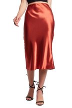 BIAS MIDI SKIRT in colour BARN RED
