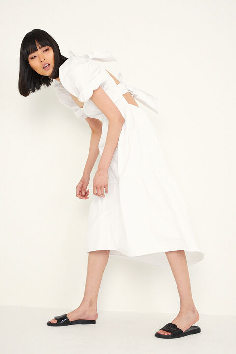 TIERED MIDI DRESS in colour BRIGHT WHITE