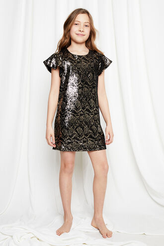 SOFIA SEQUIN SHIFT in colour JET BLACK