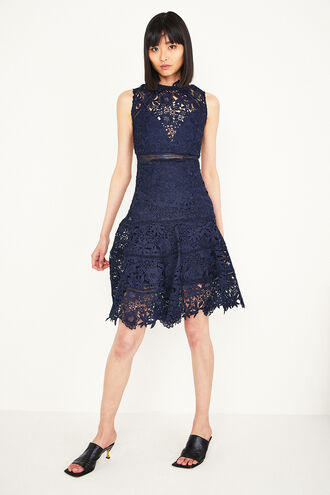 ELISE LACE DRESS in colour MARITIME BLUE
