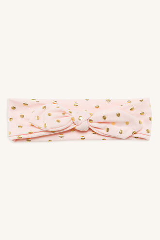 BOW STRETCH HEADBAND in colour DUSTY PINK
