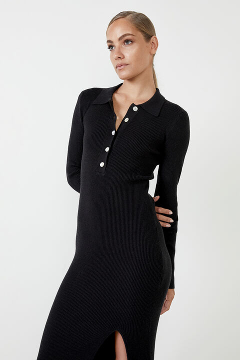 COLLAR KNIT DRESS  in colour CAVIAR