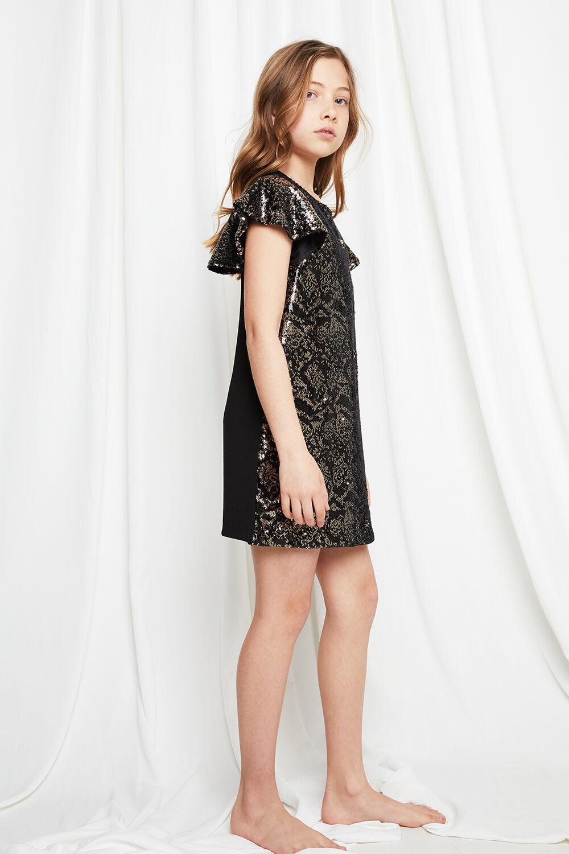 JUNIOR GIRL SOFIA SEQUIN SHIFT  in colour JET BLACK