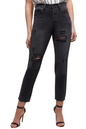 SLIM STRAIGHT JEAN in colour CAVIAR