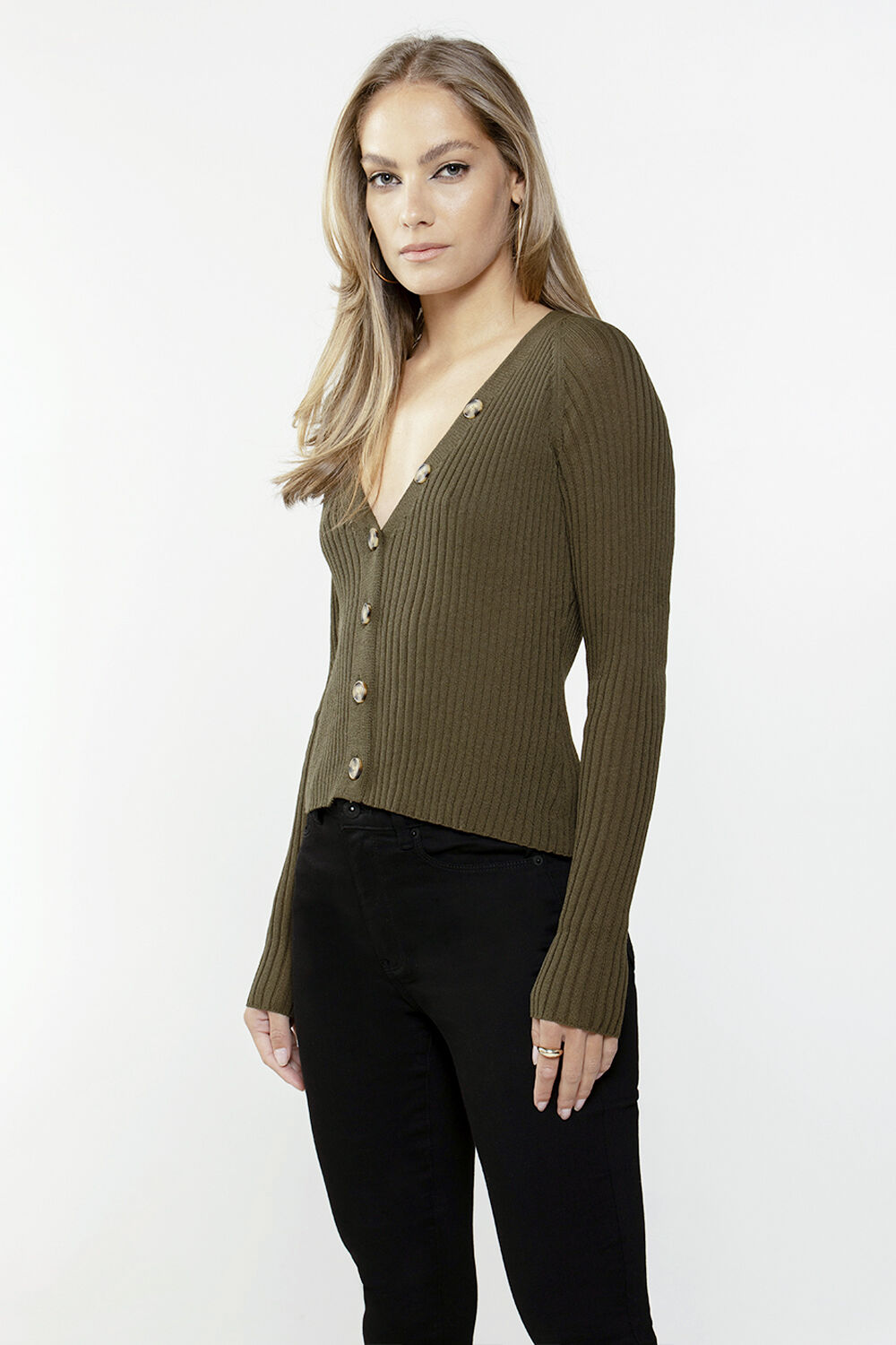 BUTTON FRONT CARDIGAN in colour IVY GREEN