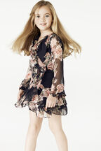 JUNIOR GIRL CASSIDY WRAP DRESS in colour JET BLACK