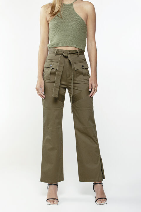UTILITY SEAM DETAIL PANT in colour IVY GREEN