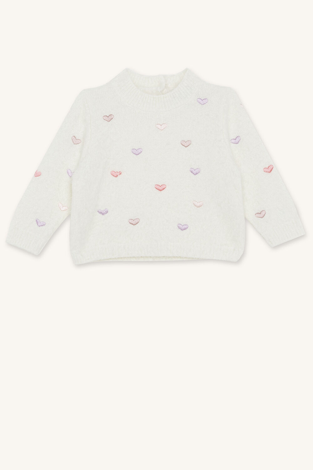 HEARTS FLUFFY KNIT JUMPER in colour ANTIQUE WHITE