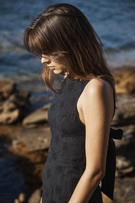 REIGN MAXI DRESS in colour CAVIAR