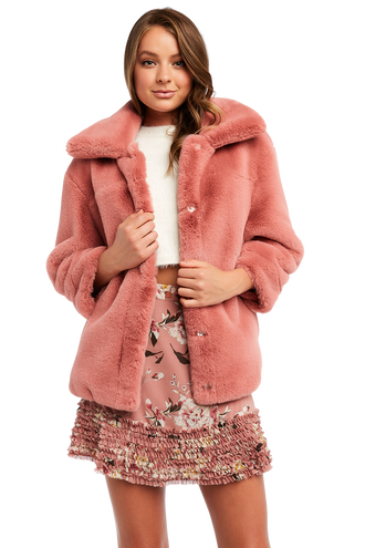 PIA FUR BOMBER in colour SILVER PEONY