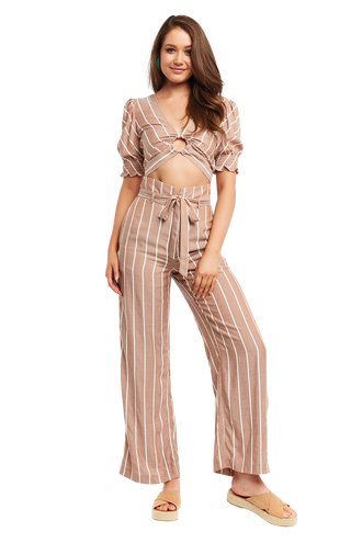 STRIPE WIDE LEG PANT in colour COPPER BROWN