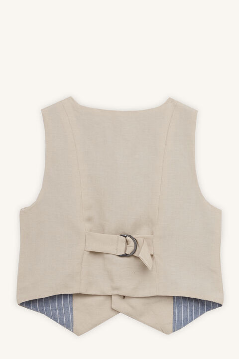 MILES LINEN VEST in colour MOONLIGHT
