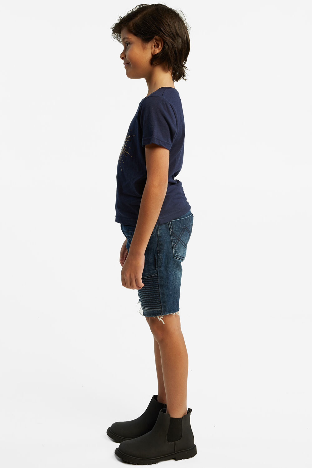 BIKER DENIM SHORT in colour CITADEL