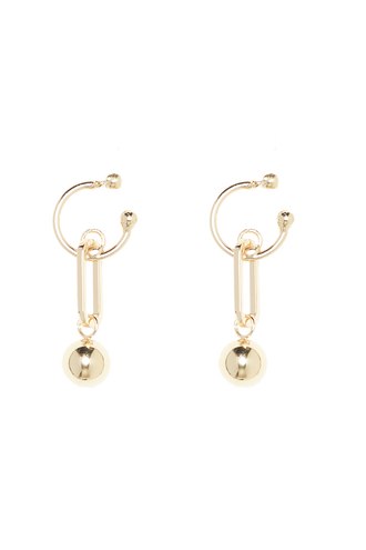 HOOP BALL DROP EARRING in colour GOLD EARTH