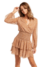 DITSY SHIRRED DRESS in colour CLOUD DANCER